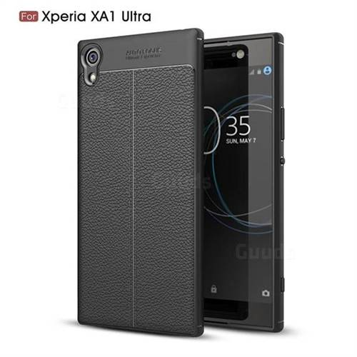 Luxury Auto Focus Litchi Texture Silicone TPU Back Cover for Sony Xperia XA1 Ultra - Black