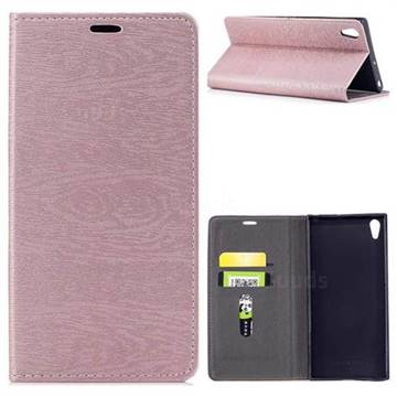 Tree Bark Pattern Automatic suction Leather Wallet Case for Sony Xperia XA1 Ultra - Rose Gold
