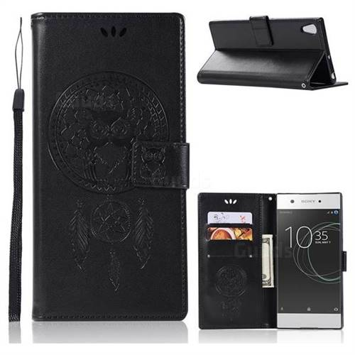 Intricate Embossing Owl Campanula Leather Wallet Case for Sony Xperia XA1 Ultra - Black