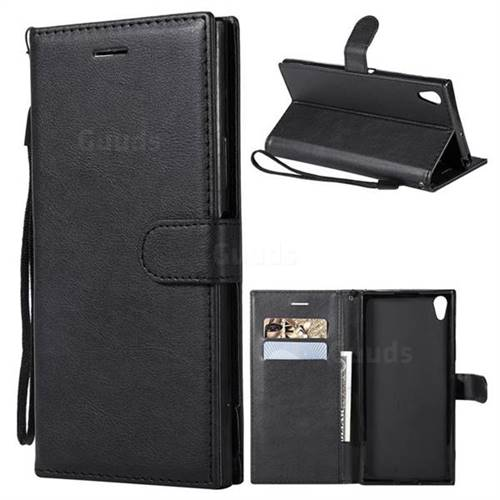 Retro Greek Classic Smooth PU Leather Wallet Phone Case for Sony Xperia XA1 Ultra - Black