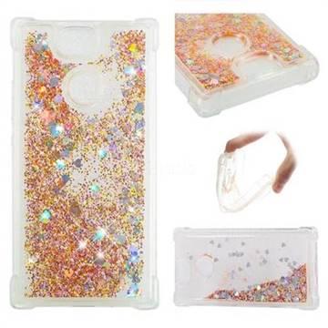 Dynamic Liquid Glitter Sand Quicksand Star TPU Case for Sony Xperia XA2 - Diamond Gold