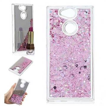 Glitter Sand Mirror Quicksand Dynamic Liquid Star TPU Case for Sony Xperia XA2 - Cherry Pink