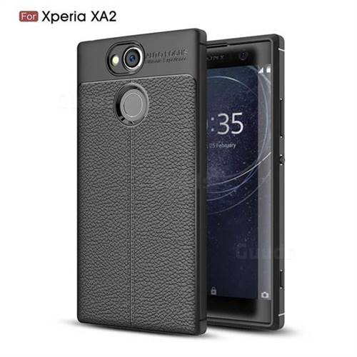 Luxury Auto Focus Litchi Texture Silicone TPU Back Cover for Sony Xperia XA2 - Black