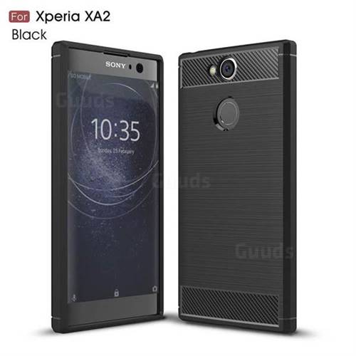 Luxury Carbon Fiber Brushed Wire Drawing Silicone TPU Back Cover for Sony Xperia XA2 - Black