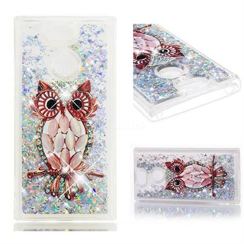 Dynamic Liquid Glitter Quicksand Soft TPU Case for Sony Xperia XA2 - Seashell Owl