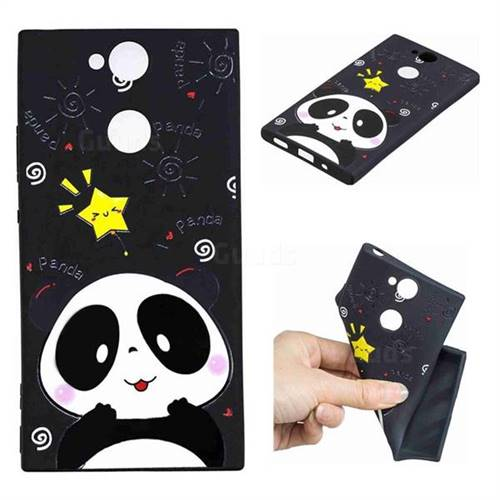 Cute Bear 3D Embossed Relief Black TPU Cell Phone Back Cover for Sony Xperia XA2