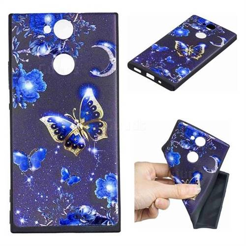 Phnom Penh Butterfly 3D Embossed Relief Black TPU Cell Phone Back Cover for Sony Xperia XA2