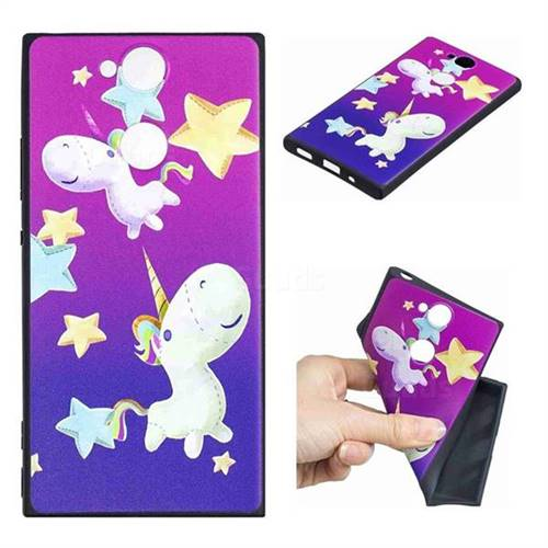 Pony 3D Embossed Relief Black TPU Cell Phone Back Cover for Sony Xperia XA2