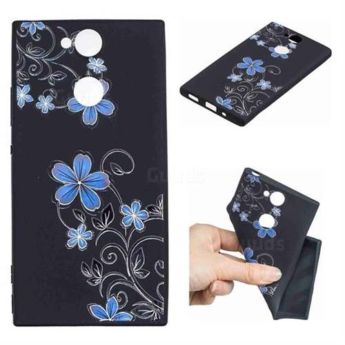 Little Blue Flowers 3D Embossed Relief Black TPU Cell Phone Back Cover for Sony Xperia XA2