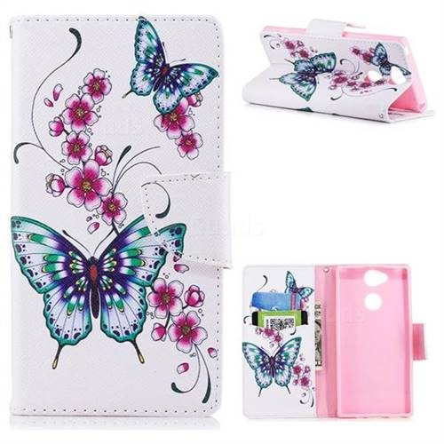 Peach Butterfly Leather Wallet Case for Sony Xperia XA2