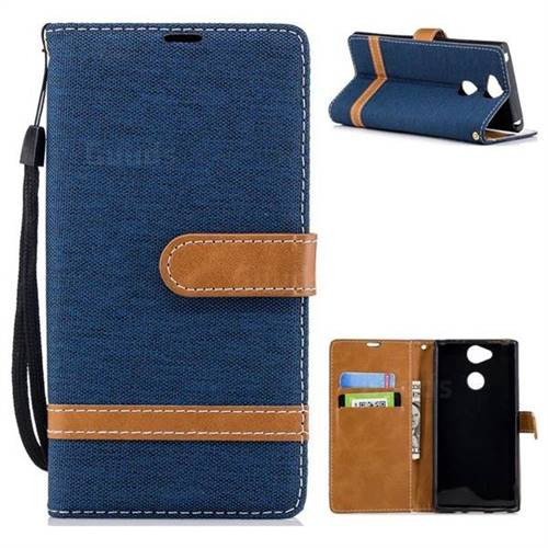 best sneakers 67d33 bc87f Jeans Cowboy Denim Leather Wallet Case for Sony Xperia XA2 - Dark Blue -  Leather Case - Guuds