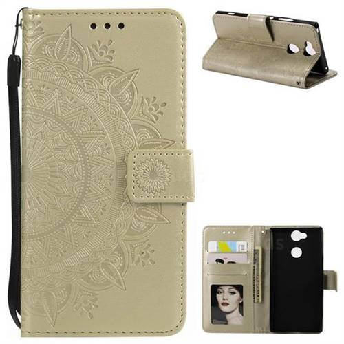 Intricate Embossing Datura Leather Wallet Case for Sony Xperia XA2 - Golden