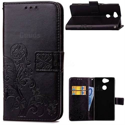 Embossing Imprint Four-Leaf Clover Leather Wallet Case for Sony Xperia XA2 - Black