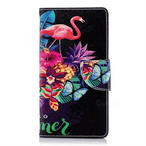 the best attitude 5d308 0f627 Flowers Flamingos Leather Wallet Case for Sony Xperia XA2
