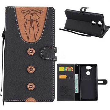 Ladies Bow Clothes Pattern Leather Wallet Phone Case for Sony Xperia XA2 - Black