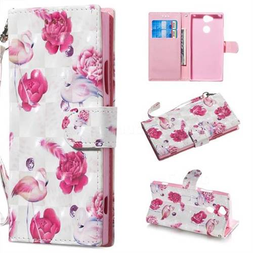 Flamingo 3D Painted Leather Wallet Phone Case for Sony Xperia XA2