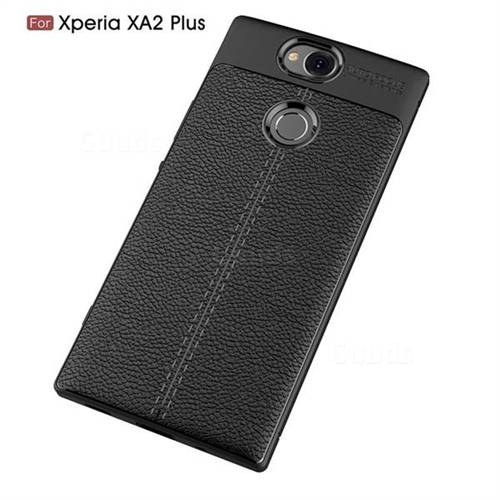 outlet store 9462f 3968b Luxury Auto Focus Litchi Texture Silicone TPU Back Cover for Sony Xperia  XA2 Plus - Black