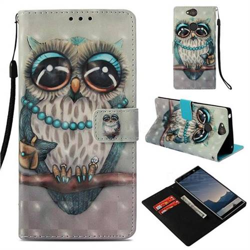 Sweet Gray Owl 3D Painted Leather Wallet Case for Sony Xperia XA2 Plus