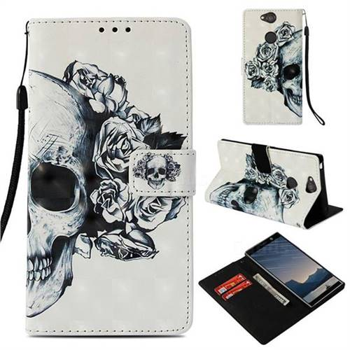 Skull Flower 3D Painted Leather Wallet Case for Sony Xperia XA2 Plus
