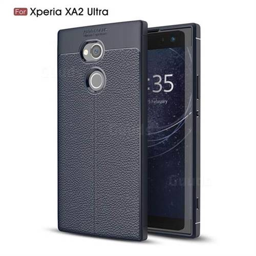 Luxury Auto Focus Litchi Texture Silicone TPU Back Cover for Sony Xperia XA2 Ultra(6.0 inch) - Dark Blue