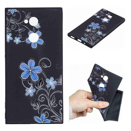 Little Blue Flowers 3D Embossed Relief Black TPU Cell Phone Back Cover for Sony Xperia XA2 Ultra(6.0 inch)