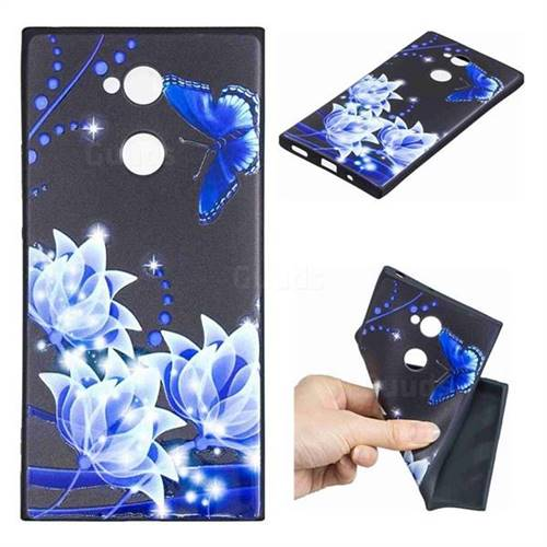 Blue Butterfly 3D Embossed Relief Black TPU Cell Phone Back Cover for Sony Xperia XA2 Ultra(6.0 inch)