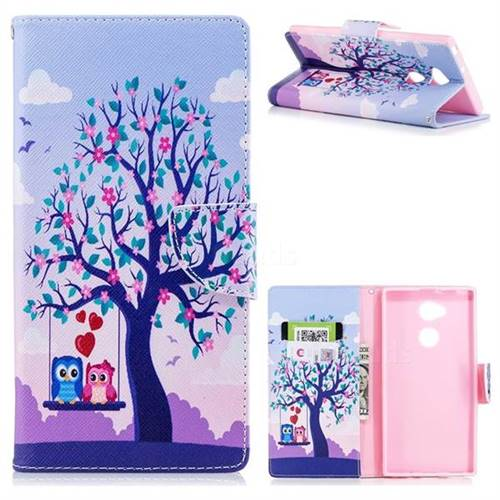 Tree and Owls Leather Wallet Case for Sony Xperia XA2 Ultra(6.0 inch)