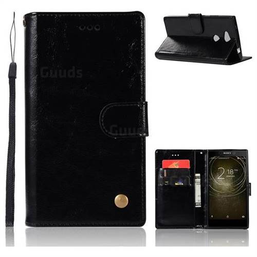 Luxury Retro Leather Wallet Case for Sony Xperia XA2 Ultra(6.0 inch) - Black