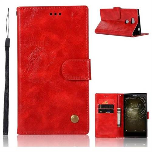 Luxury Retro Leather Wallet Case for Sony Xperia XA2 Ultra(6.0 inch) - Red