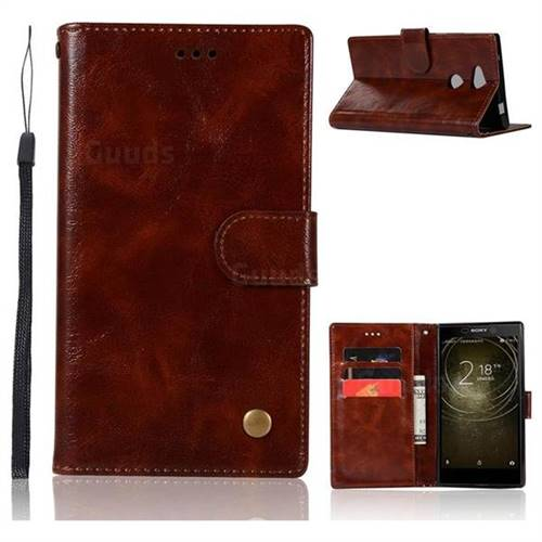 Luxury Retro Leather Wallet Case for Sony Xperia XA2 Ultra(6.0 inch) - Brown