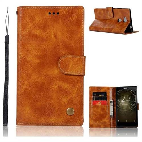 Luxury Retro Leather Wallet Case for Sony Xperia XA2 Ultra(6.0 inch) - Golden