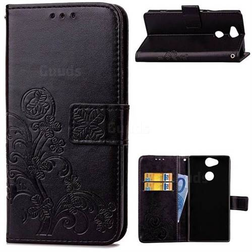Embossing Imprint Four-Leaf Clover Leather Wallet Case for Sony Xperia XA2 Ultra(6.0 inch) - Black