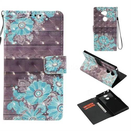 Blue Flower 3D Painted Leather Wallet Case for Sony Xperia XA2 Ultra(6.0 inch)