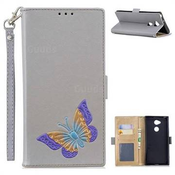 Imprint Embossing Butterfly Leather Wallet Case for Sony Xperia XA2 Ultra(6.0 inch) - Grey