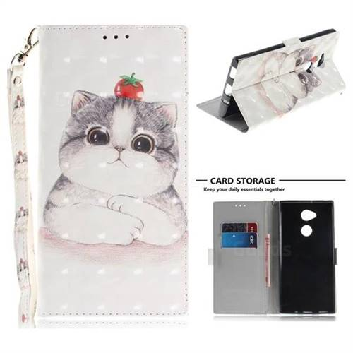 Cute Tomato Cat 3D Painted Leather Wallet Phone Case for Sony Xperia XA2 Ultra(6.0 inch)