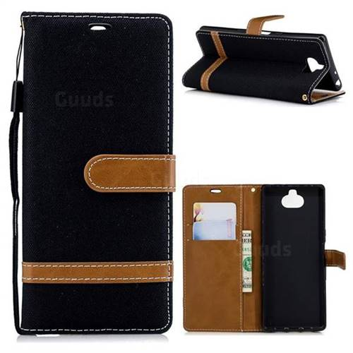 Jeans Cowboy Denim Leather Wallet Case for Sony Xperia XA3 - Black