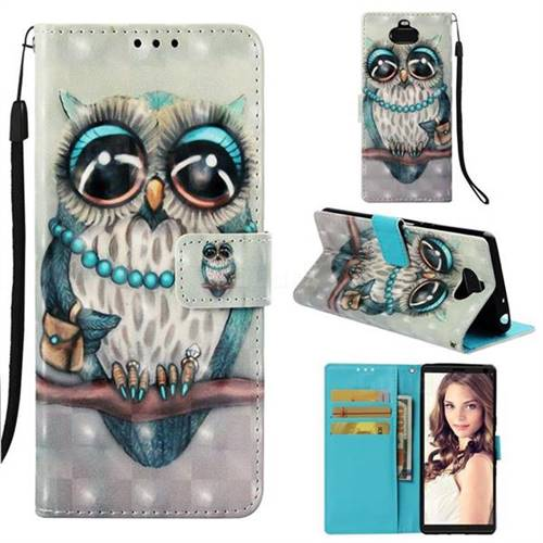 Sweet Gray Owl 3D Painted Leather Wallet Case for Sony Xperia 10 / Xperia XA3