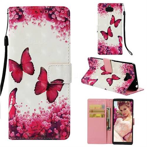 Rose Butterfly 3D Painted Leather Wallet Case for Sony Xperia 10 / Xperia XA3