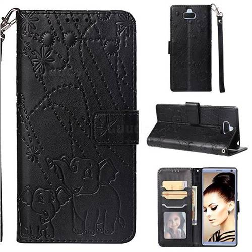 Embossing Fireworks Elephant Leather Wallet Case for Sony Xperia 10 / Xperia XA3 - Black