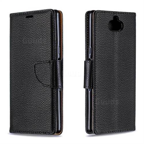 Classic Luxury Litchi Leather Phone Wallet Case for Sony Xperia 10 / Xperia XA3 - Black