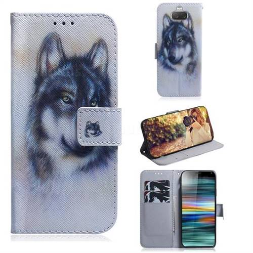 Snow Wolf PU Leather Wallet Case for Sony Xperia 10 / Xperia XA3