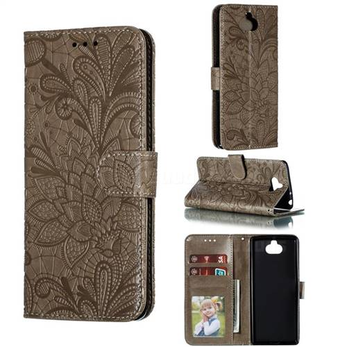 Intricate Embossing Lace Jasmine Flower Leather Wallet Case for Sony Xperia 10 / Xperia XA3 - Gray