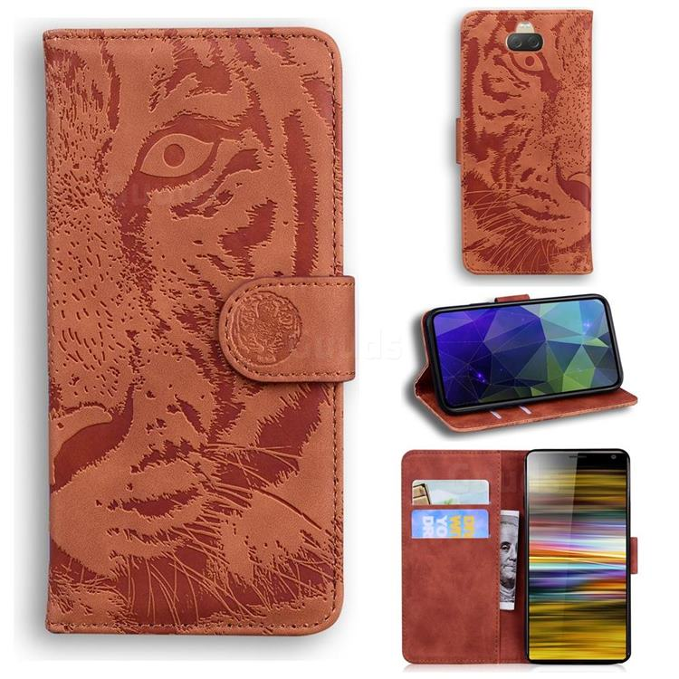 Intricate Embossing Tiger Face Leather Wallet Case for Sony Xperia 10 / Xperia XA3 - Brown