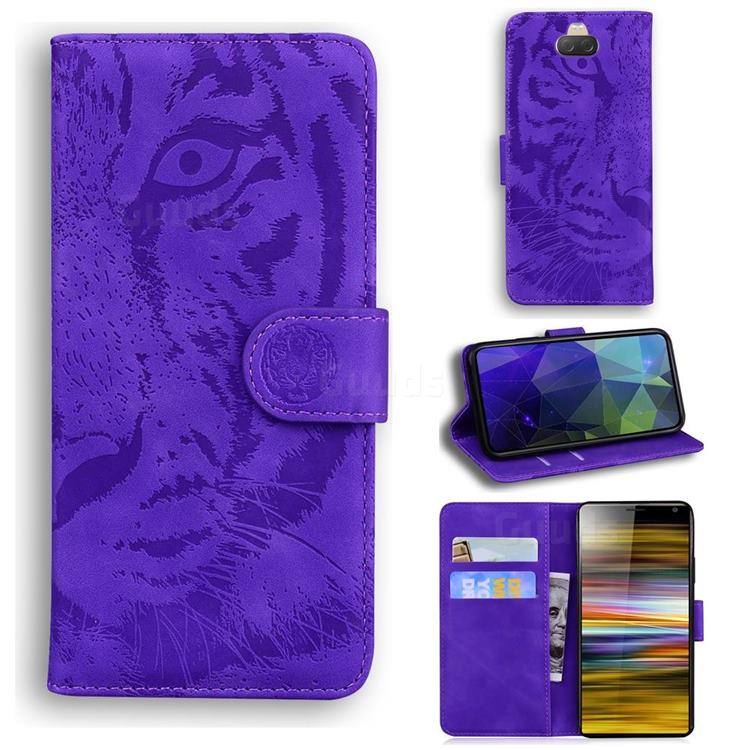 Intricate Embossing Tiger Face Leather Wallet Case for Sony Xperia 10 / Xperia XA3 - Purple