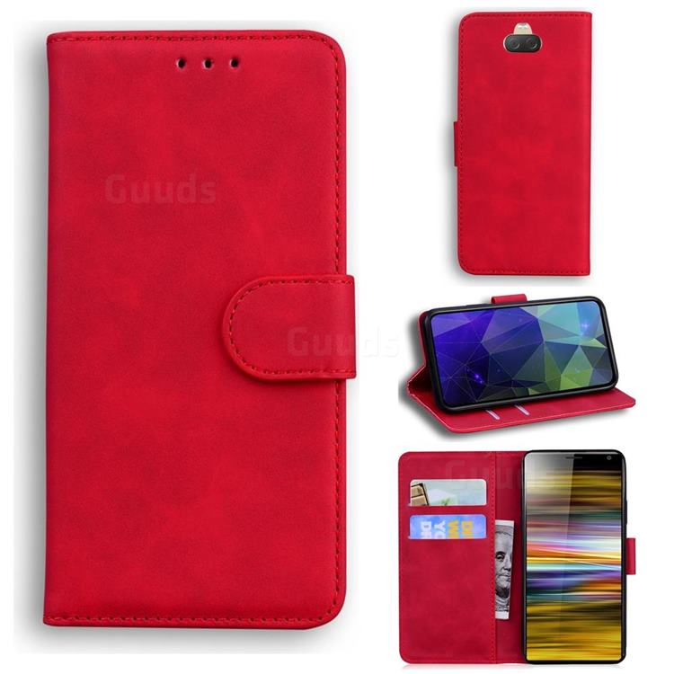 Retro Classic Skin Feel Leather Wallet Phone Case for Sony Xperia 10 / Xperia XA3 - Red