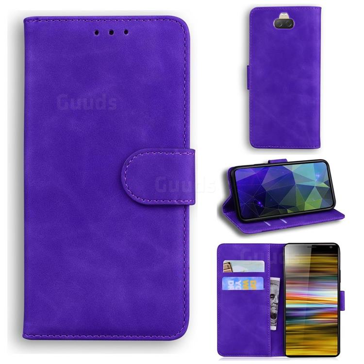 Retro Classic Skin Feel Leather Wallet Phone Case for Sony Xperia 10 / Xperia XA3 - Purple