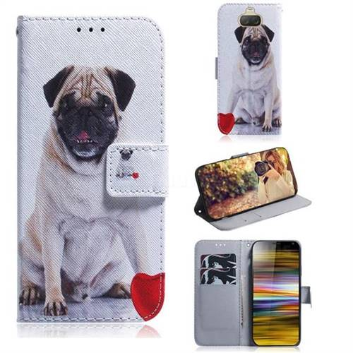 Pug Dog PU Leather Wallet Case for Sony Xperia 10 Plus / Xperia XA3 Ultra