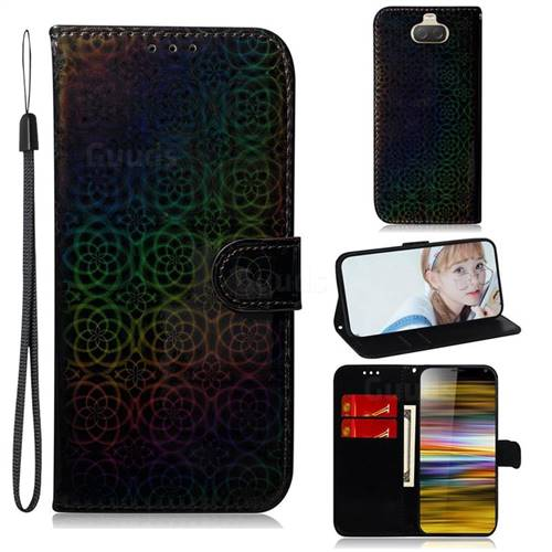 Laser Circle Shining Leather Wallet Phone Case for Sony Xperia 10 Plus / Xperia XA3 Ultra - Black