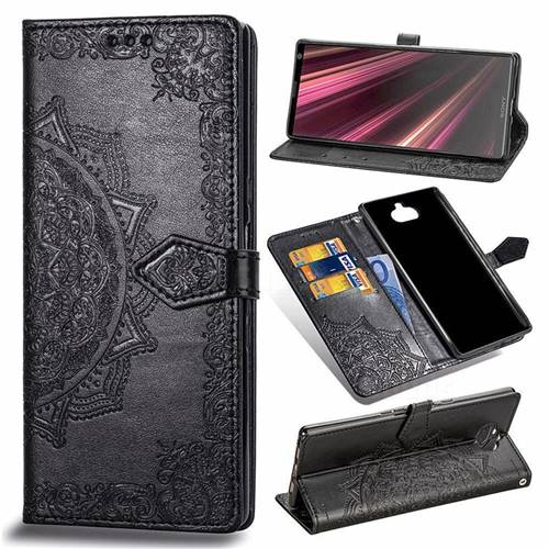 Embossing Imprint Mandala Flower Leather Wallet Case for Sony Xperia 10 Plus / Xperia XA3 Ultra - Black