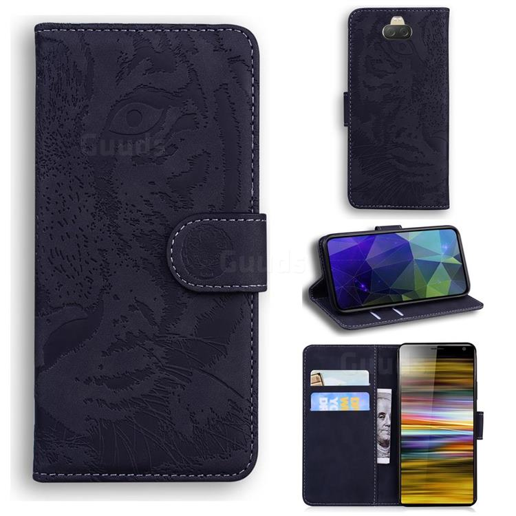 Intricate Embossing Tiger Face Leather Wallet Case for Sony Xperia 10 Plus / Xperia XA3 Ultra - Black